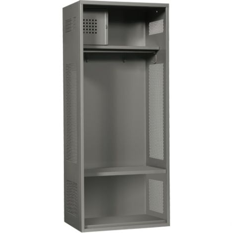 """All-Welded Gear Locker Includes Coat Bar - Colour: Grey - Overall Width: 24"""" - Ships Free"""