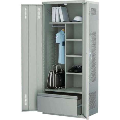 All-Welded Deluxe Gear Locker Includes Lateral Drawer - Colour: Grey - Ships Free