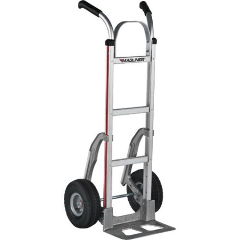 "Aluminum Hand Trucks - Handle Type: Dual Handle - Nose Plate Dimensions: 14""W x 7-1/2""D - Wheel: Pneumatic"