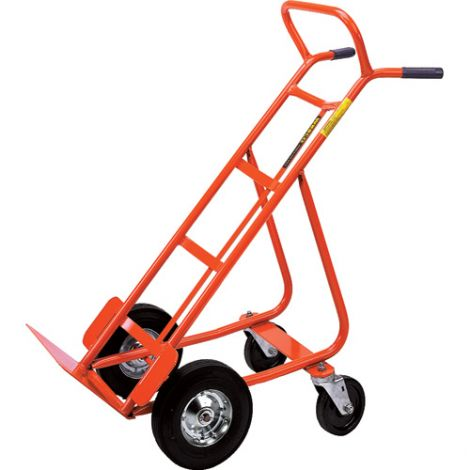 """Hand Trucks with Swivel Casters (Steel) - Handle Type: Dual Handle - Nose Plate Dimensions: 18""""W x 8""""D - Wheel: Pneumatic"""