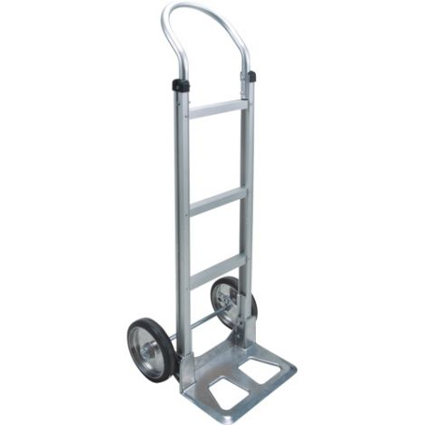 """Aluminum Hand Truck - Handle Type: Continuous Handle - Nose Plate: 14""""W x 7 1/2""""D - Wheel Material: Mold on Rubber"""