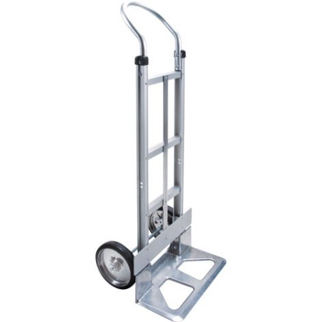 """Aluminum Hand Truck - Handle Type: Continuous Handle - Nose Plate: 18""""W x 7 1/2""""D - Wheel Material: Mold on Rubber"""