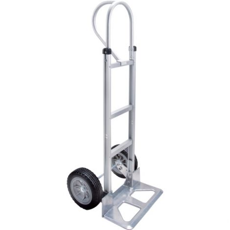 """Aluminum Hand Truck - Handle Type: P-Handle - Nose Plate: 18""""W x 7 1/2""""D - Wheel Material: Flat-Free"""