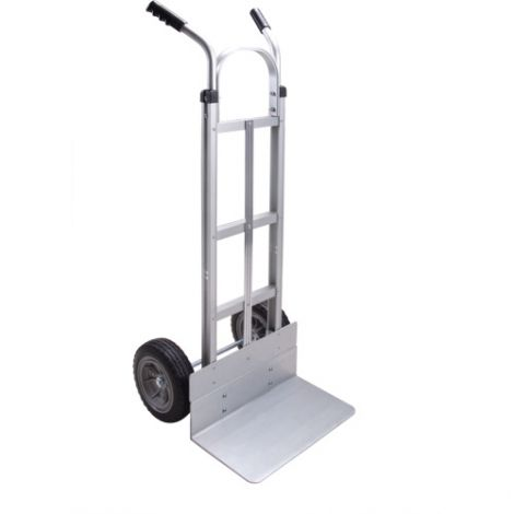 """Aluminum Hand Truck - Handle Type: Dual Handle - Nose Plate: 18""""W x 10""""D - Wheel Material: Flat-Free"""