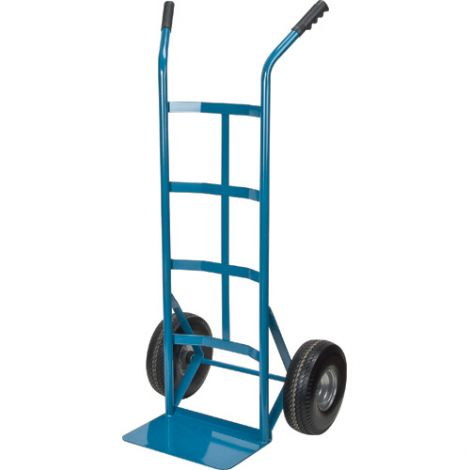"""Flat Free Wheel Hand Truck (Steel) - Handle Type: Dual Handle -Nose Plate Dimension: 14""""W x 9""""D"""