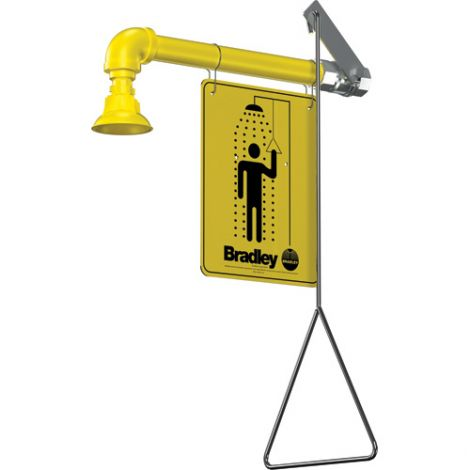 Horizontal Supply Emergency Shower Stations - Coverage Area: Full Body - Installation Type: Wall-Mount