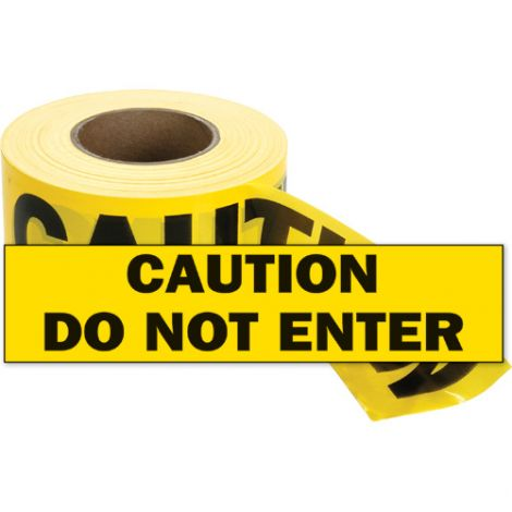 Barricade Tape - Colour: Black on Yellow - CAUTION DO NOT ENTER - Case/Qty: 12 Rolls