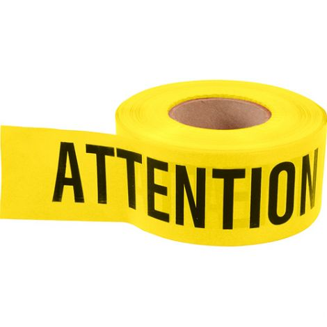 Barricade Tape - Colour: Black on Yellow - ATTENTION - Case/Qty: 12 Rolls