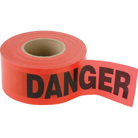 Barricade Tape - Colour: Black on Red - DANGER - Case/Qty: 12 Rolls