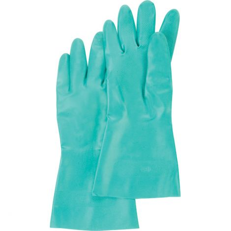 Cotton Flock-Lined Green Nitrile Gloves - Size: 2X-Large (11) - Qty: 60