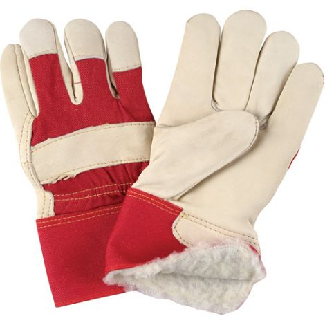Grain Cowhide Fitters Acrylic Boa Lined Gloves - Size: 2X-Large - Premium Quality Rubberized Safety Cuff - Case Quantity: 12