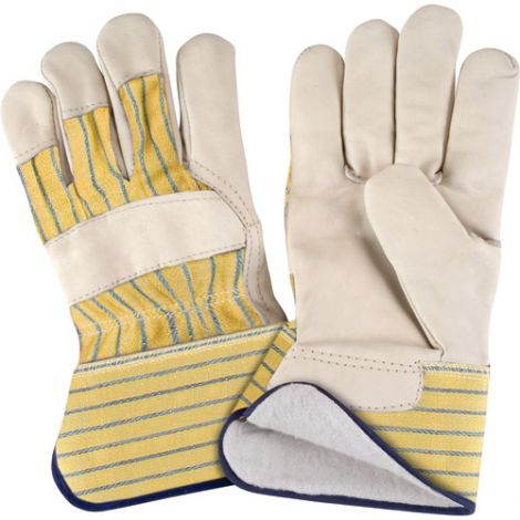 Grain Cowhide Fitters Cotton Fleece Lined Gloves - Size: X-Large - Rubberized Safety Cuff - Case Quantity: 24