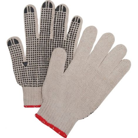 Natural Poly/Cotton Dotted Gloves - Both Sides Dotted, Heavy Weight - Size: X-Large - Qty: 240
