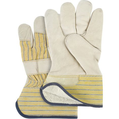Grain Cowhide Fitters Cotton Fleece Lined Gloves - Size: Ladies - Rubberized Safety Cuf - Case Quantity: 24