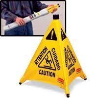 """Pop-Up Safety Cone - Legend: Multi-Lingual Caution W/ Wet Floor Symbol - Height: 30"""""""