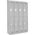 Assembled Clean Line™ Economy Lockers w/Recessed Base & Slope Top - No. of Tiers: 2 - Bank of: 4 - Ships Free
