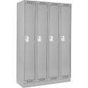 Assembled Clean Line™ Economy Lockers w/Recessed Base - No. of Tiers: 1 - Bank of: 4 - Ships Free