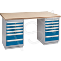 """Pre-designed Workbenches - Configuration: Dual Drawers Pedestal - Height: 34"""" - Width: 60"""""""
