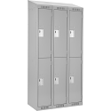Assembled Clean Line™ Economy Lockers w/Slope Top - No. of Tiers: 2 - Bank of: 3 - Ships Free