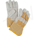 Grain Cowhide Fitters Cotton Fleece Lined Gloves - Size: Large - Gauntlet Cuff  - Case Quantity: 24