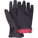 Brown Jersey Gloves - Size: Large - Slip-On, Red Fleece Lining - Case Quantity: 144