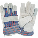 Standard Quality Split Cowhide Patch Palm Fitters Gloves, Striped Cuff - Size: Large - Case Quantity: 72