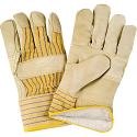 Grain Cowhide Fitters Cotton Fleece-Lined Patch Palm Gloves - Size: Size: 2X-Large - Case Quantity: 24