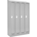 Assembled Clean Line™ Economy Lockers w/Recessed Base & Slope Top - No. of Tiers: 1 - Bank of: 4 - Ships Free