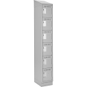 Assembled Lockerette Clean Line™ Economy Lockers w/Recessd Base & Slope Top - No. of Tiers: 6 - Bank of: 1 - Ships Free