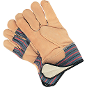 Grain Cowhide Fitters Cotton Fleece Lined Gloves - Size: Large - Rubberized Safety Cuf - Case Quantity: 24